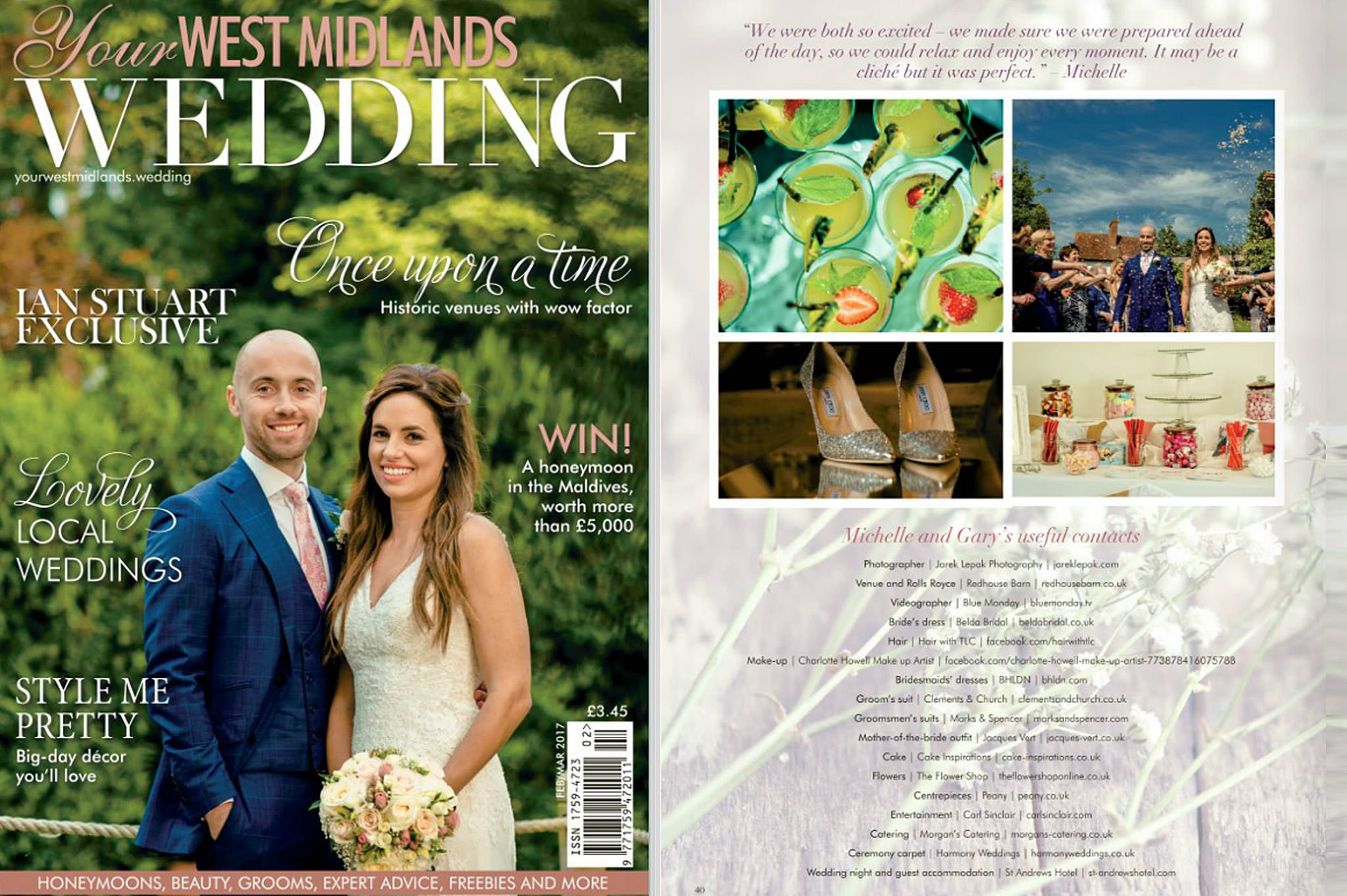 Gary & Michelle's special day featured in Your West Midlands wedding magazine 1